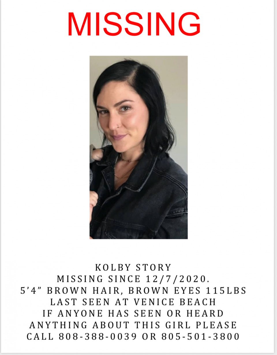 Kolby Story is missing from the Venice area of Los Angeles since December 6th or 7th, 2020.  We have reached out to her father to have him list her case on our site so we can bring needed attention to her file and as of yet no one has listed her in our database.  There is very little information available on this case so your assistance is needed.
